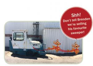 Christmas cartoon reindeer on a sweeper
